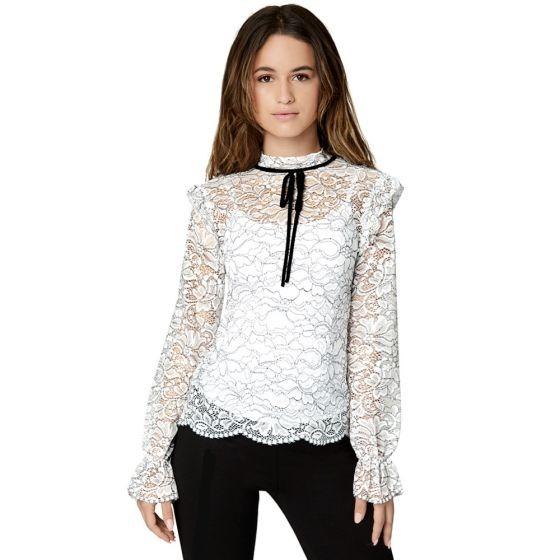 cliente primero varios colores más baratas Hermosa Blusa Blanca De Encaje Con Listón. Manga Larga Dama