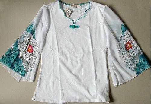 hermosa blusa blanca manga larga gasa flores estilo rapsodia