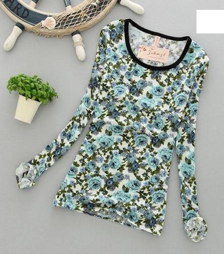 hermosa blusa, camiseta flores menta talla s 100% nueva