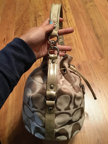 hermosa bolsa coach bucket silver bag piel 100% original!!