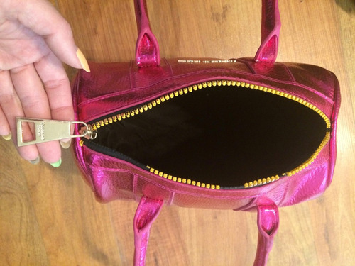 hermosa bolsa victoria's secret speedy rosa metallico!!