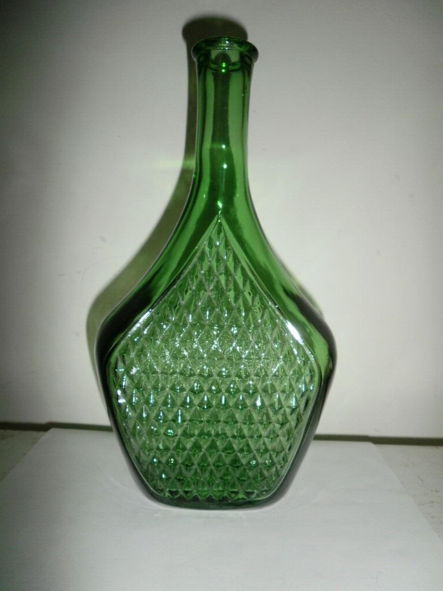 Hermosa botella de vidrio verde hecha en italia - Que hacer con botellas de vidrio ...