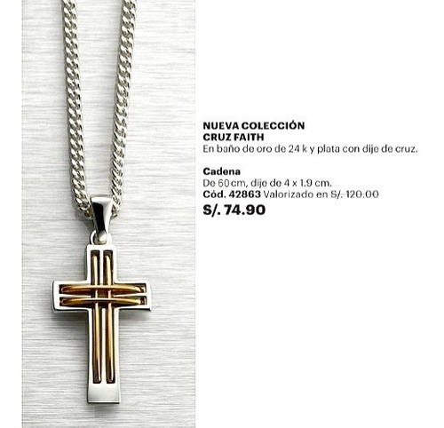 hermosa cadena collar hombre cruz faith baño plata oro esika
