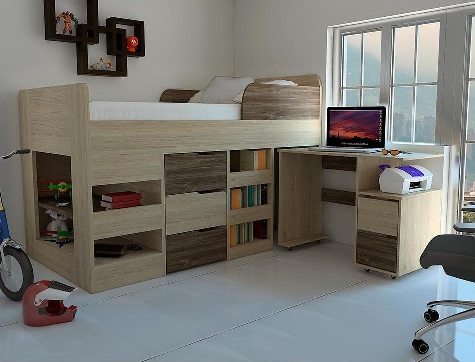 Hermosa cama camarote infantil cajones armario escritorio - Camas infantiles con escritorio ...