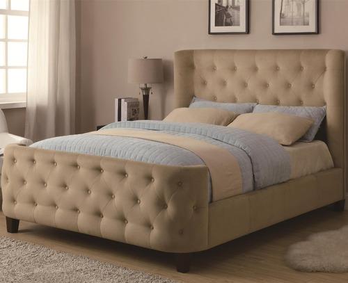 hermosa cama tapizada y capitoneada