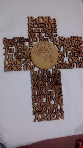hermosa cruz  grande con el padre nuestro en corte laser