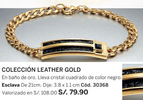 hermosa esclava leather gold baño oro esika cristal negro