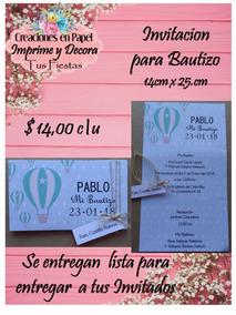 Hermosa Invitacion Para Bautizo Niño Globo Azul