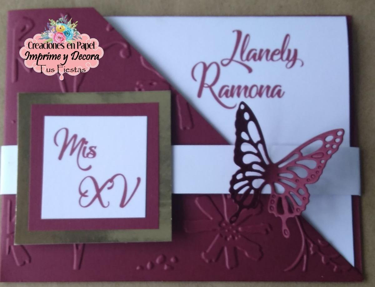 Hermosa Invitacion Para Xv Años Mariposa Color Vino