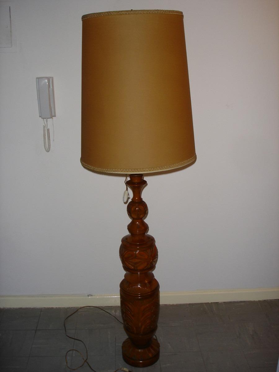 hermosa lmpara de pie c pantalla antigua de madera tallada - Lamparas De Madera