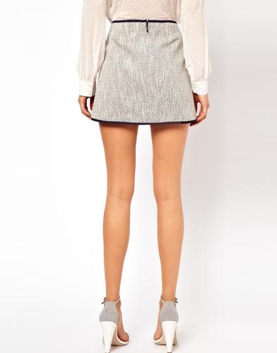 hermosa mini falda boucle de lujo asos nueva talla 42