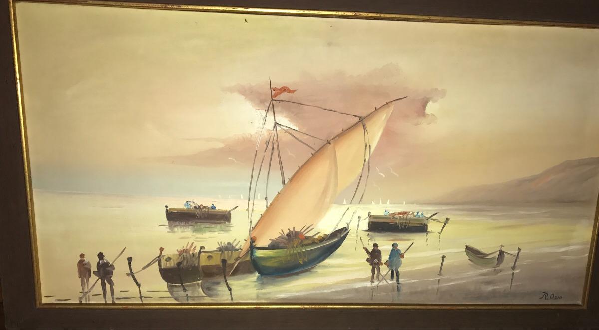Hermosa Pintura Al Óleo Enmarcada, Rubricada De 1.35 X75 Cms ...