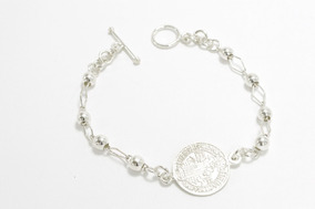 0d90f43b3681 Hermosa Pulsera De Plata Ley .925 Con Medallas De San Benito