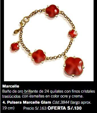 hermosa pulsera marcelle glam baño oro unique caja sellada