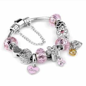 94bb61e2109b Hermosa Pulsera Pandora 12 Charms Corazón Llaves Plata 925
