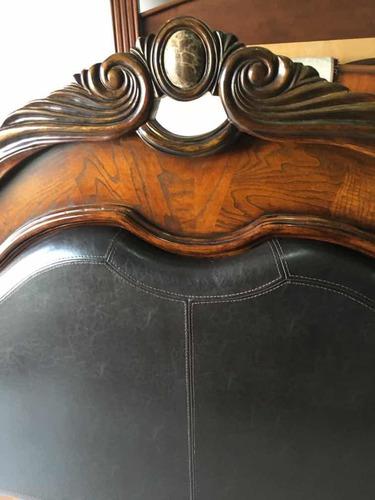 hermosa recámara king size de madera cedro y piel de lacks