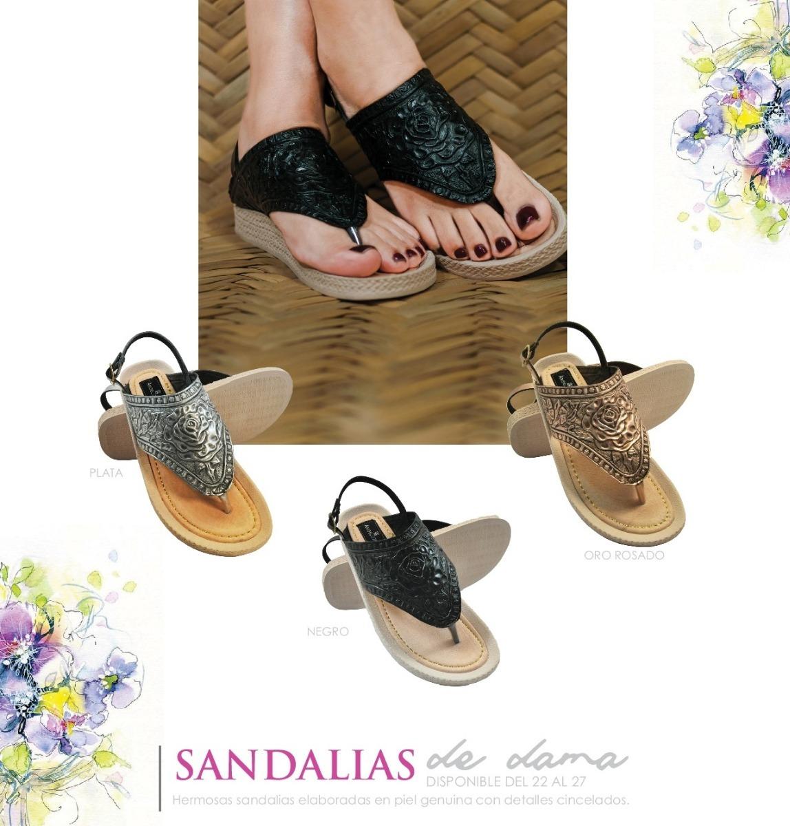 Sandalia Grabado Dama Hermosa Cincelado Env De Piel Y Gratis QxdoeBWrC