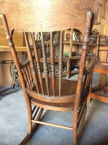hermosa silla mecedora original antigua encino circa 1900