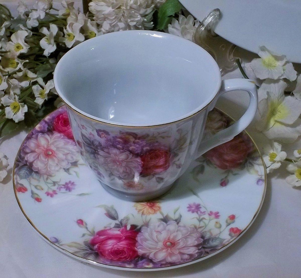Hermosa taza de te porcelana con tema floral en for Tazas de porcelana