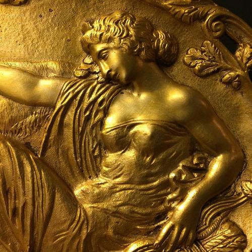hermosa y antigua placa de bronce francesa 1920
