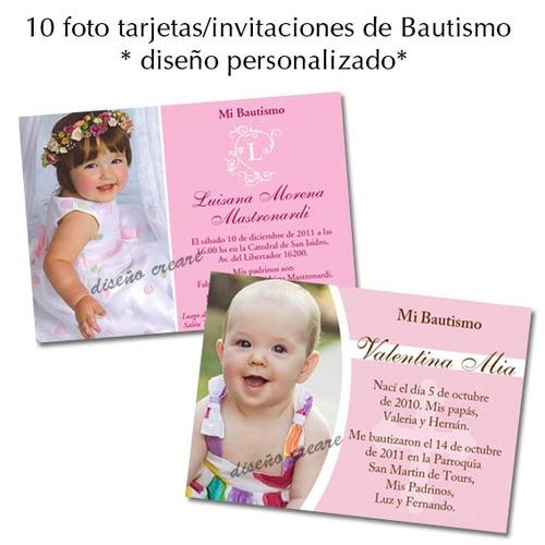 hermosas 10 foto tarjetas invitacion bautismo 1er añito nen