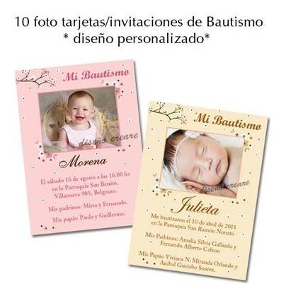 Hermosas 10 Foto Tarjetas Invitacion Bautismo Para Nena