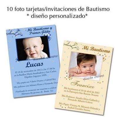 Hermosas 12 Foto Tarjetas Invitación Bautismo Primer Añito