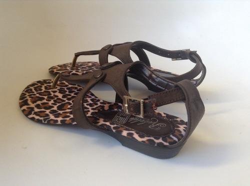 hermosas sandalias planas animal print tipo pata de gallo