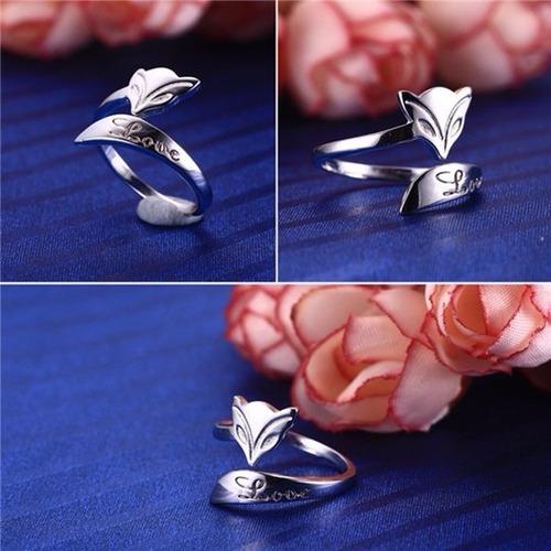 hermoso anillo ajustable, fox plata 925,único exclusivo.