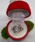 hermoso anillo  bb  plata ley 9,50