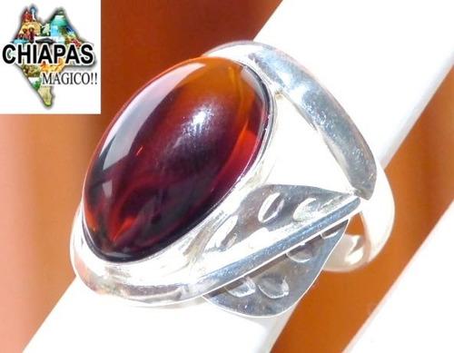 hermoso anillo de ámbar rojo & plata ley #8.7 / ar10