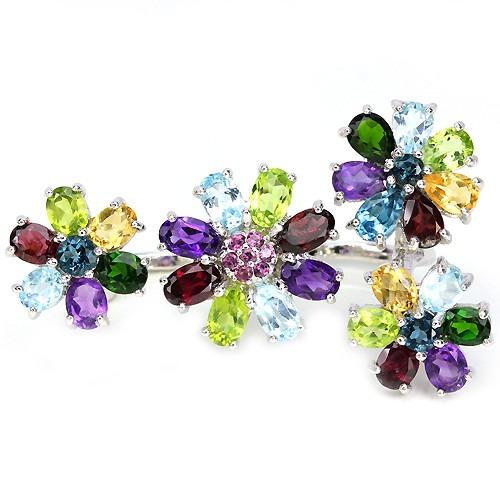 hermoso anillo de plata .925 c/ gemas preciosas envío gratis