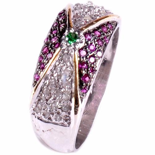 hermoso anillo de plata y diamante en bruto
