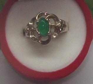 hermoso anillo flor con esmeralda, plata ley 9,50