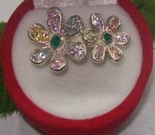 hermoso anillo flores esmeralda-circones, plata ley 9,50