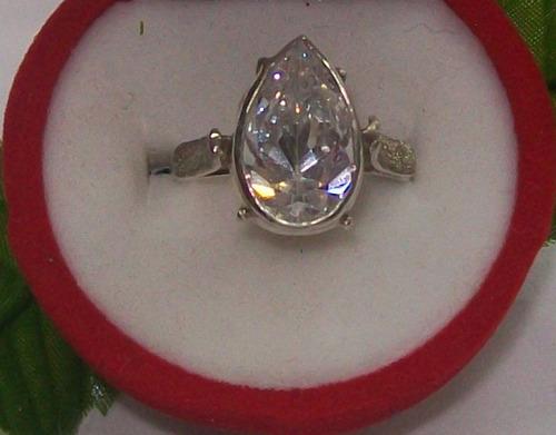 hermoso anillo lágrima circón, plata ley 9,25