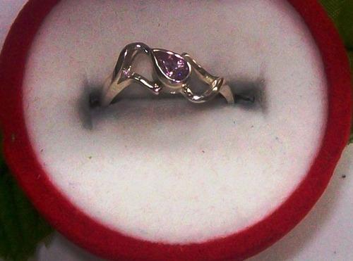 hermoso anillo  lágrima circón plata ley 9,25