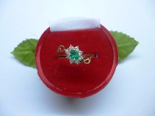 hermoso anillo marquesa 1.8 esmeralda-circón en oro 18k