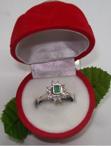 hermoso anillo marquesa cuadrada 1,10 plata ley 9,50