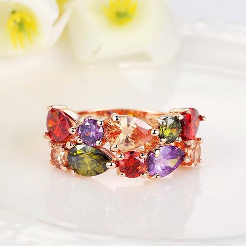 hermoso anillo mujer dama zirconia varios colores + caja