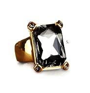 hermoso anillo mujer zaria finart baño oro cristales talla 9