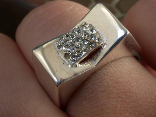 hermoso anillo plata 925 circonias tipo sello aparente
