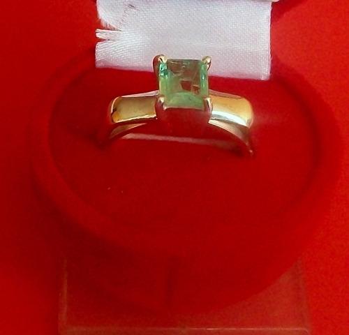 hermoso anillo  solitario, esmeralda cuadrada ley 9,25