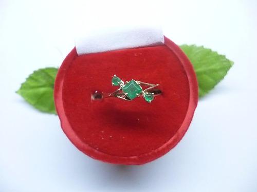 hermoso anillo tricillo esmeralda en oro 18k