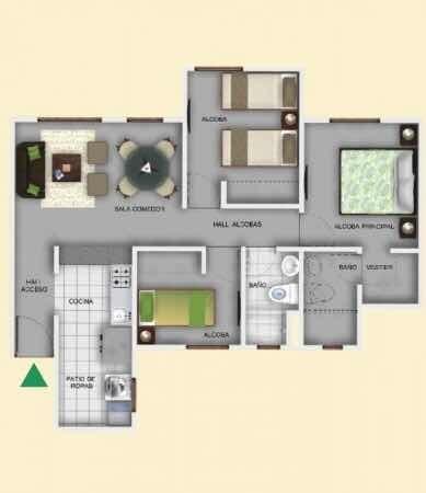 hermoso apartamento 3 habitaciones candelaria norte