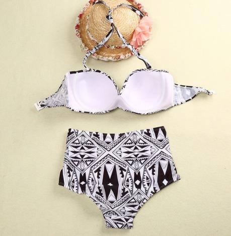 hermoso bikini push up, vintage bicolor etnico