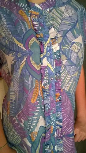 hermoso blusa seda estampada con volados talle m