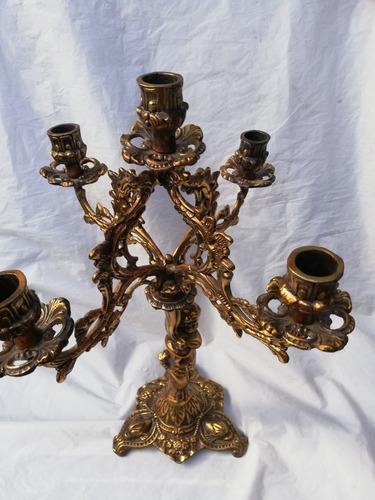 hermoso candelabro querubin 5 velas de bronce nuevo