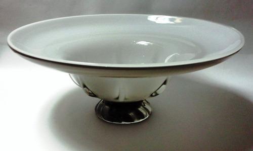 hermoso centro de mesa cristal murano blanco exterior gris