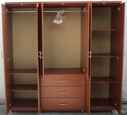Hermoso closet ropero moderno minimalista 3 piezas for Roperos de madera para dormitorios